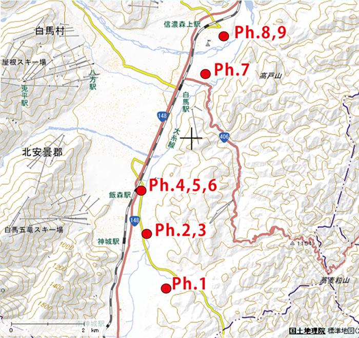 地図の赤い○印をクリックすると、現場写真がご覧になれます (上記地図画像は国土地理院 地理院地図を引用の上、加工したものを利用しています)